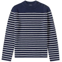 Saint Laurent Stripe Button Crew Knit Blue