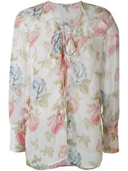 Dondup Floral Print Semi Sheer Blouse Women Silk M White
