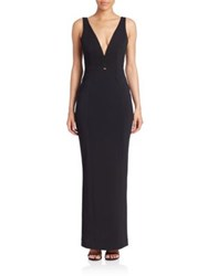 Nicholas Braid Trimmed Sleeveless Gown White Black
