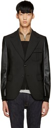 Junya Watanabe Black Faux Leather Sleeve Blazer