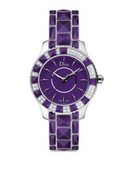 Christian Dior Dior Christal Diamond Purple Sapphire Crystal And Stainless Steel Bracelet Watch Purple Silver