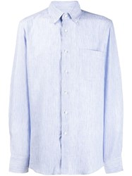 Canali Slim Fit Striped Shirt Blue