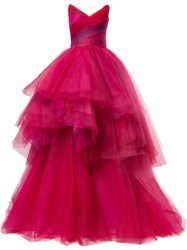 Monique Lhuillier Layered Tulle Ball Gown Pink