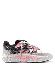 Maison Martin Margiela Fusion Hand Painted Leather Low Top Trainers White Multi
