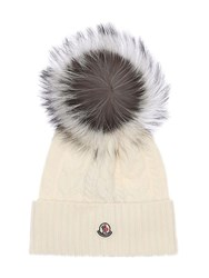 Moncler Wool And Cashmere Knit Hat W Fur Pompom White