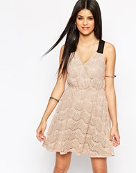 Hazel Lace Cross Front Skater Dress Taupe