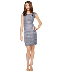 Tahari By Arthur S. Levine Tweed Sheath Dress With Buttons Navy White Women's Dress Blue