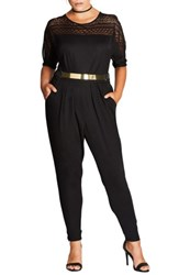 City Chic Plus Size Women's Sports One Belted Jumpsuit Black