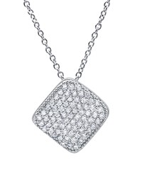 Crislu Pave Square Pendant Necklace 16