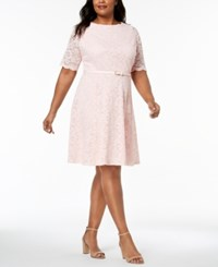 Charter Club Plus Size Belted Lace A Line Dress Created For Macy's Misty Pink