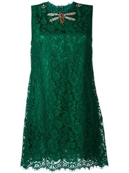 Dolce And Gabbana Embellished Lace Dress Green