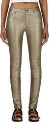 Blk Dnm Pewter Leather Moto Trousers