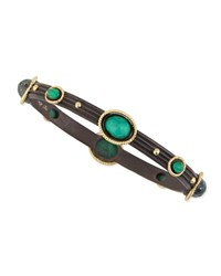 Old World Rope Bezel Malachite Bangle Armenta Black