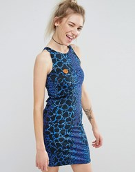 Illustrated People Bodycon Dress Blue