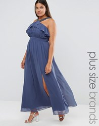 Little Mistress Plus High Neck Ruffle Detail Maxi Dress With Thigh Split Grey