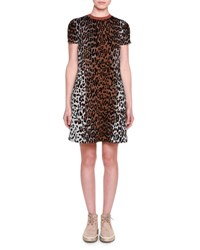Stella Mccartney Short Sleeve Leopard Print Shift Dress
