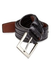 Saks Fifth Avenue Collection Exotic Tab Woven Leather Belt Black