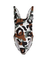 Norma Kamali Camo Print High Rise Swimsuit Camouflage