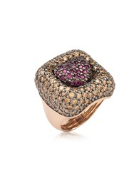 Azhar Rings Rose Sterling Silver Squared Heart Ring W Two Tone Cubic Zirconia
