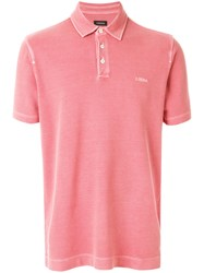 Z Zegna Classic Style Polo Pink And Purple