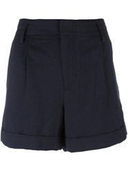 Vince Wide Legged Pleated Shorts Blue