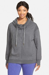 Zella 'Free And Easy' Hooded Sweatshirt Plus Size Charcoal Heather