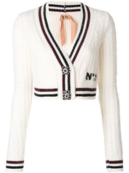 N 21 No21 Embellished Button Up Cardigan Polyamide Mohair Wool Nude Neutrals
