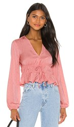 Bcbgeneration Tie Front Long Sleeve Top In Pink. Watermelon