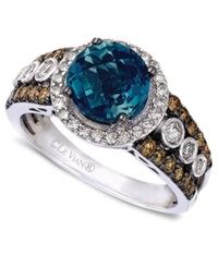 Le Vian Blue Topaz 2 Ct. T.W. And White And Chocolate Diamond 3 4 Ct. T.W. Statement Ring In 14K White Gold