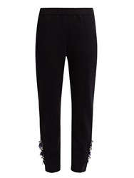 Muveil Embellished Slim Leg Jersey Trousers Navy