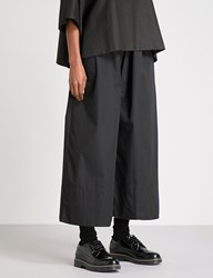 Phoebe English Wide Cropped High Rise Cotton Poplin Trousers Black