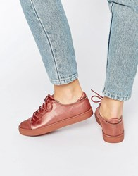 Asos Darley Clean Lace Up Trainers Nude Satin Beige