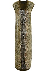 By Malene Birger Sequina Embellished Crepe Dress Green