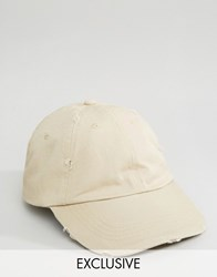 Reclaimed Vintage Distressed Baseball Cap Sand Beige