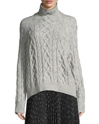 Vince Oversized Cable Knit Turtleneck Sweater Gray