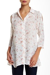 Hip Cold Shoulder Long Sleeve Button Down White