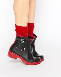 Juju Vincent Biker Welly Ankle Boots Vincent Red Black