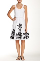 Chaudry Embroidered Trim Dress White
