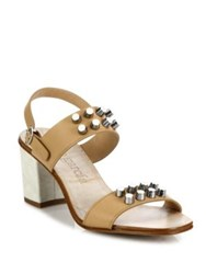 Pedro Garcia Xanet Studded Leather Block Heel Slingbacks Almond