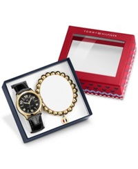 Tommy Hilfiger Women's Black Croc Embossed Leather Strap Watch 38Mm And Bracelet Gift Set 770012