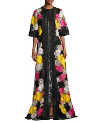 Naeem Khan Half Sleeve Lace Embroidered Caftan Coat Multi