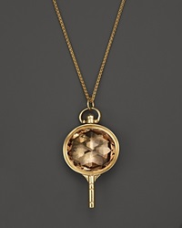 Monica Rich Kosann 18K Yellow Gold Oval Pocketwatch Key Charm Necklace With Champagne Quartz And Moonstone 26 Gold Multi