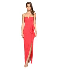 Adrianna Papell Strapless Jersey Gown W Ruffle Cascade Hot Tomato Women's Dress Red