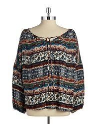 Vintage Havana Printed Peasant Top Navy Tan
