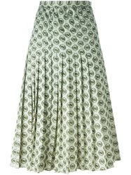 Christian Dior Vintage Bamboo Print Pleated Skirt White