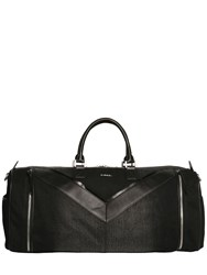 Diesel Treated Denim And Faux Leather Duffle Bag