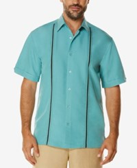 Cubavera Men's Contrast Stitch Short Sleeve Shirt Bristol Blue
