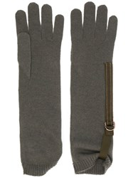 Brunello Cucinelli Long Ribbed Cuff Glovesribbed Green