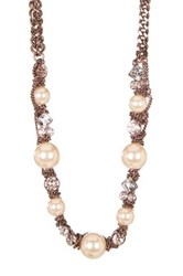 Givenchy Simulated Pearl Chainlink Long Necklace Brown