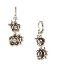Marchesa Austrian Crystal Floral Drop Earrings Gold